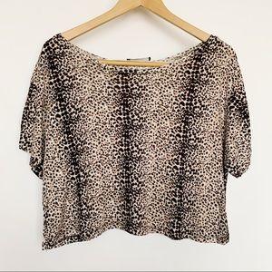 Ambiance Animal Print Crop Top Loose Fit Shirt